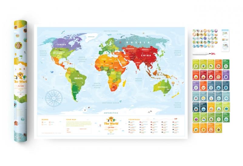 Фото - Cкретч постер Travel Maps KIDS Sights купить в киеве на подарок, цена, отзывы