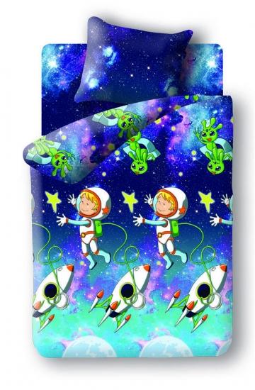 Фото - Постельное белье детское полуторное Непоседа Космонавт купить в киеве на подарок, цена, отзывы