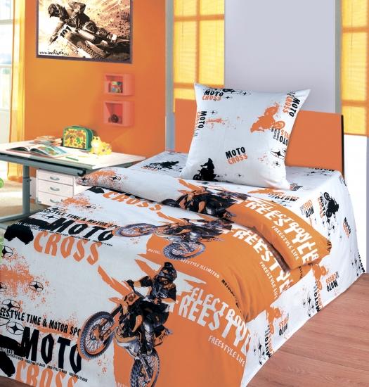 Фото - Комплект постельного белья полуторный Непоседа Мотокросс купить в киеве на подарок, цена, отзывы