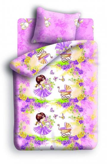 Фото - Постельное белье детское полуторное Колыбельная мечты Девочка и зайчик купить в киеве на подарок, цена, отзывы