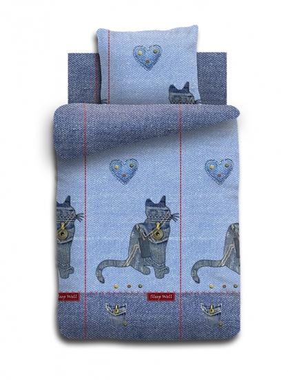 Фото - Комплект постельного белья полуторный For You Джинсовый кот купить в киеве на подарок, цена, отзывы