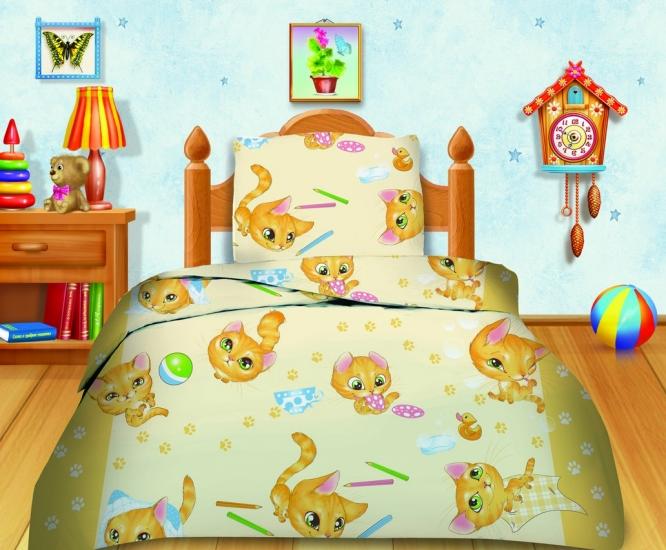 Фото - Комплект постельного белья полуторный Кошки-мышки Усатый-полосатый купить в киеве на подарок, цена, отзывы