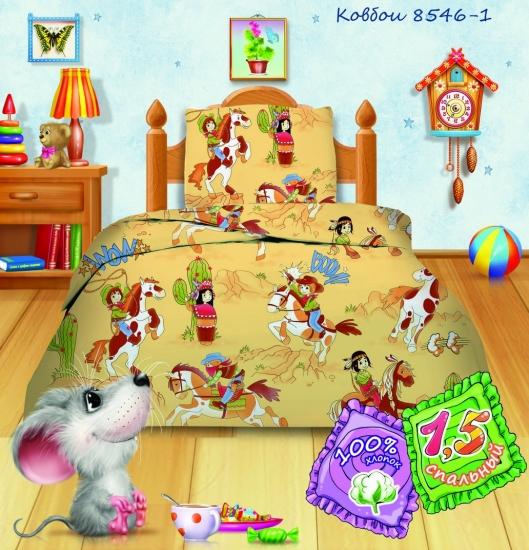 Фото - Комплект постельного белья полуторный Кошки-мышки Ковбои купить в киеве на подарок, цена, отзывы