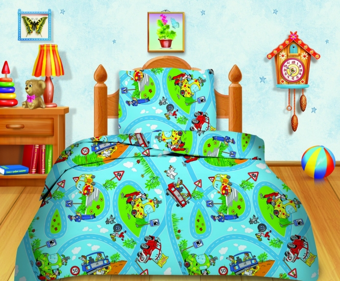 Фото - Комплект постельного белья полуторный Кошки-мышки Светофор купить в киеве на подарок, цена, отзывы