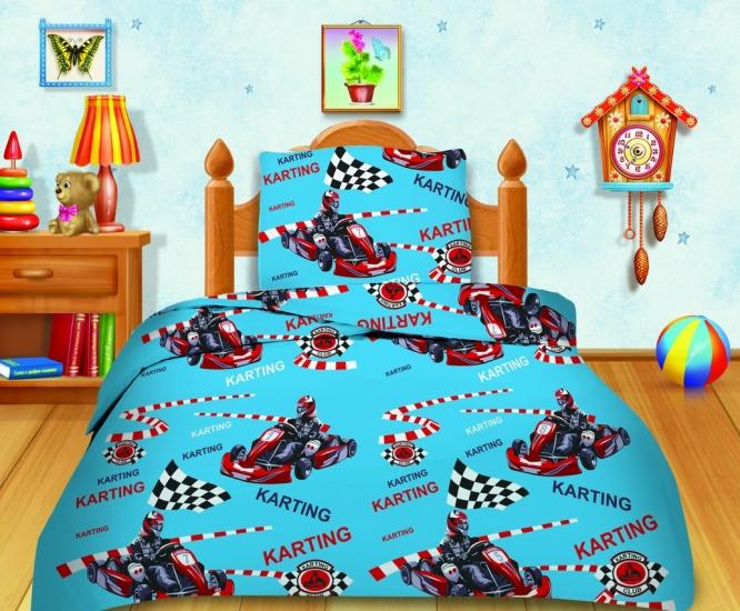 Фото - Комплект постельного белья полуторный Кошки-мышки Картинг купить в киеве на подарок, цена, отзывы
