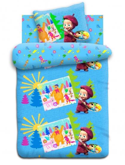 Фото - Комплект постельного белья полуторный Маша и Медведь Художница купить в киеве на подарок, цена, отзывы