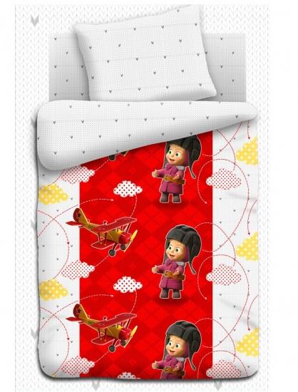 Фото - Комплект постельного белья полуторный Маша и Медведь Высший пилотаж купить в киеве на подарок, цена, отзывы