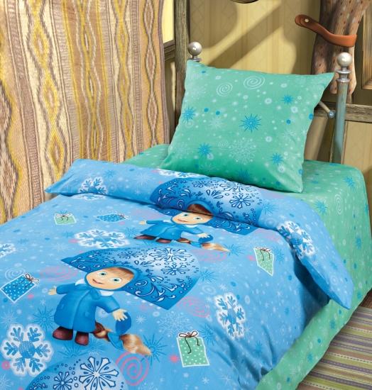 Фото - Комплект постельного белья полуторный Маша и Медведь Снегурочка купить в киеве на подарок, цена, отзывы