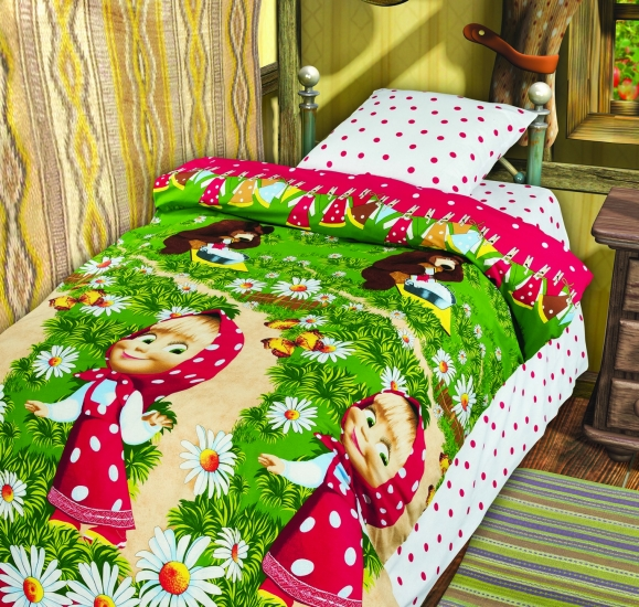 Фото - Комплект постельного белья полуторный Маша и Медведь Большая стирка купить в киеве на подарок, цена, отзывы