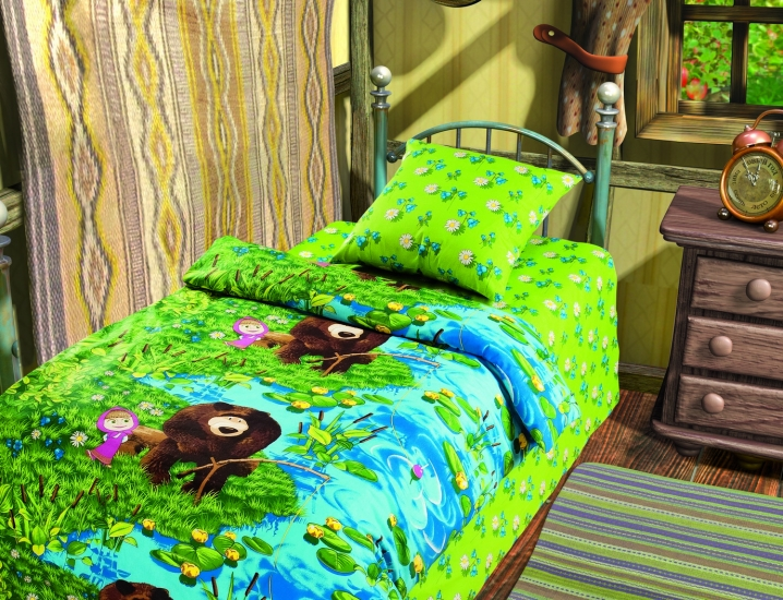 Фото - Комплект постельного белья полуторный Маша и Медведь На рыбалке купить в киеве на подарок, цена, отзывы