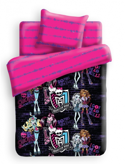 Фото - Комплект постельного белья полуторный Monster High Школьные граффити купить в киеве на подарок, цена, отзывы