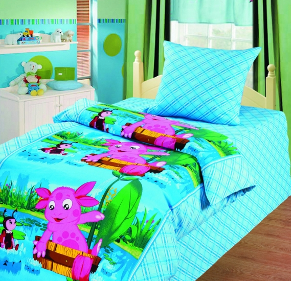 Фото - Комплект постельного белья полуторный Лунтик Путешествие купить в киеве на подарок, цена, отзывы