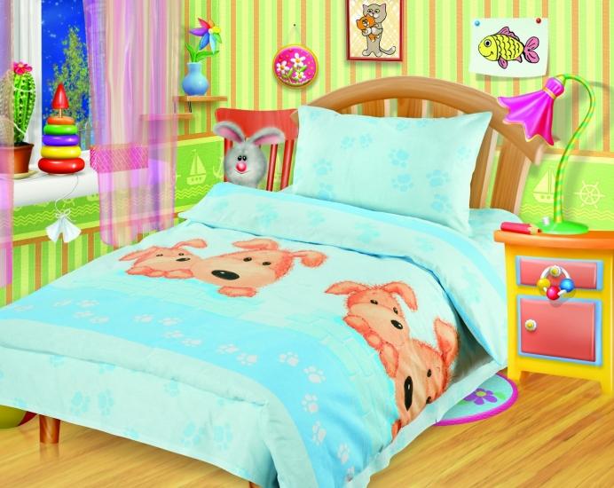 Фото - Постельное белье для детей в детскую кроватку Непоседа Собачки голубые купить в киеве на подарок, цена, отзывы