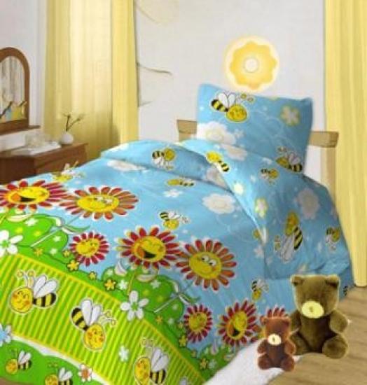 Фото - Комплект постельного белья детский Кошки-мышки Пчелки голубые купить в киеве на подарок, цена, отзывы