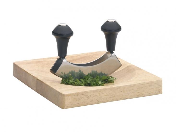 Фото - KC Нож для зелени из нержавеющей стали с деревянной доской купить в киеве на подарок, цена, отзывы