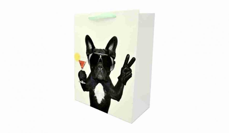 Фото - Подарочный пакет Бульдог 30 см купить в киеве на подарок, цена, отзывы