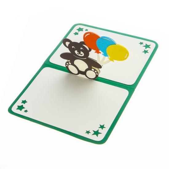 Фото - Объемная открытка Подарок Мишка с шариками  купить в киеве на подарок, цена, отзывы