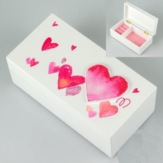Фото - Деревянная шкатулка Сердечки купить в киеве на подарок, цена, отзывы