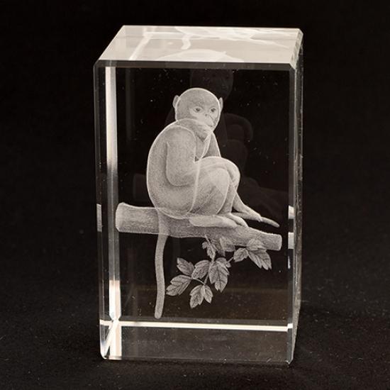 Фото - Лазерная голограмма мавпочка в хрустале купить в киеве на подарок, цена, отзывы