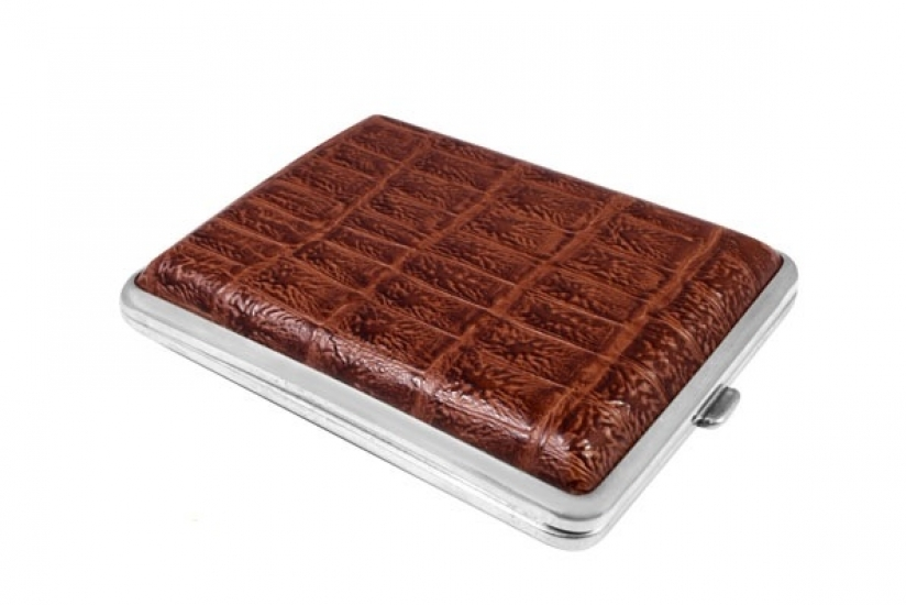 Фото - Портсигар кожа крокодил коричневый купить в киеве на подарок, цена, отзывы