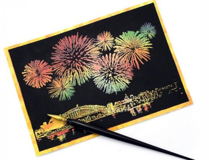 Фото - Набор 4х скретч открыток Салют купить в киеве на подарок, цена, отзывы