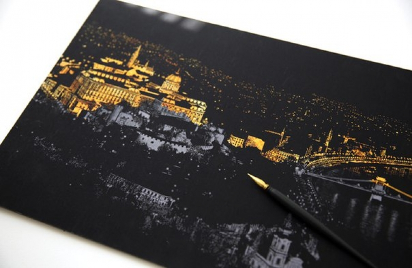 Фото - Скретч картина Париж ночью купить в киеве на подарок, цена, отзывы