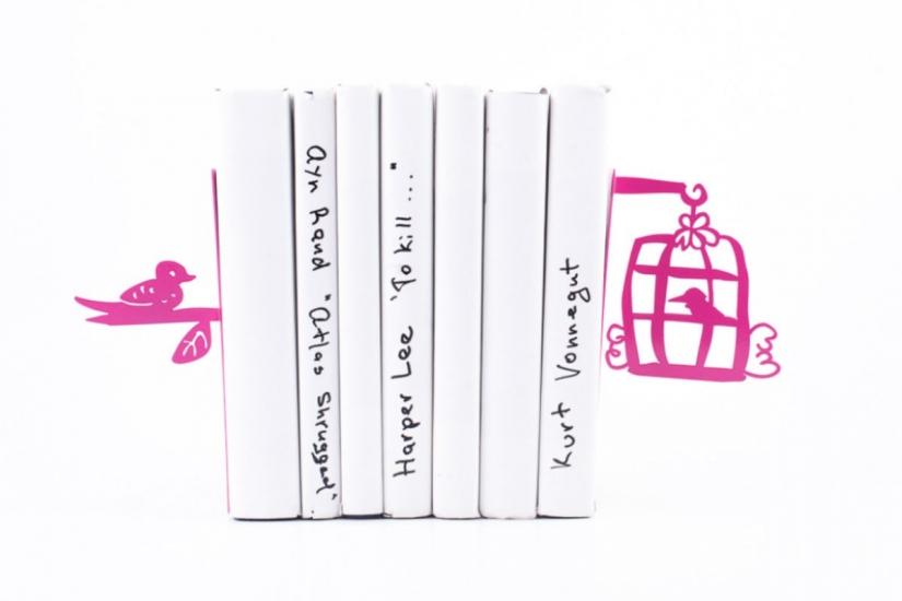 Фото - Держатель для книг Клетка с птицами темно-розовая купить в киеве на подарок, цена, отзывы