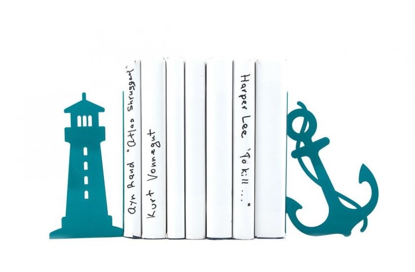 Фото - Держатель для книг Маяк и якорь темно-бирюзовый купить в киеве на подарок, цена, отзывы