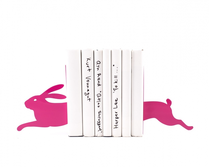 Фото - Держатель для книг Бегущий заяц темно-розовый купить в киеве на подарок, цена, отзывы