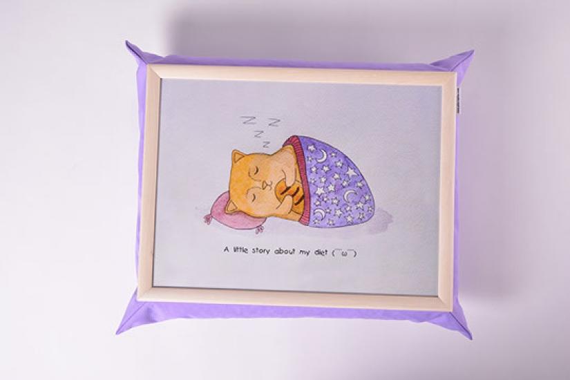 Фото - Поднос на подушке Ленивый кот купить в киеве на подарок, цена, отзывы