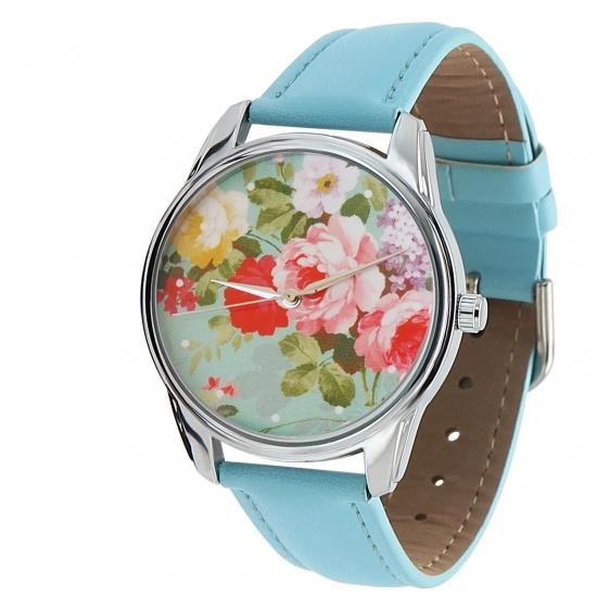 Фото - Наручные часы Розочки голубой купить в киеве на подарок, цена, отзывы