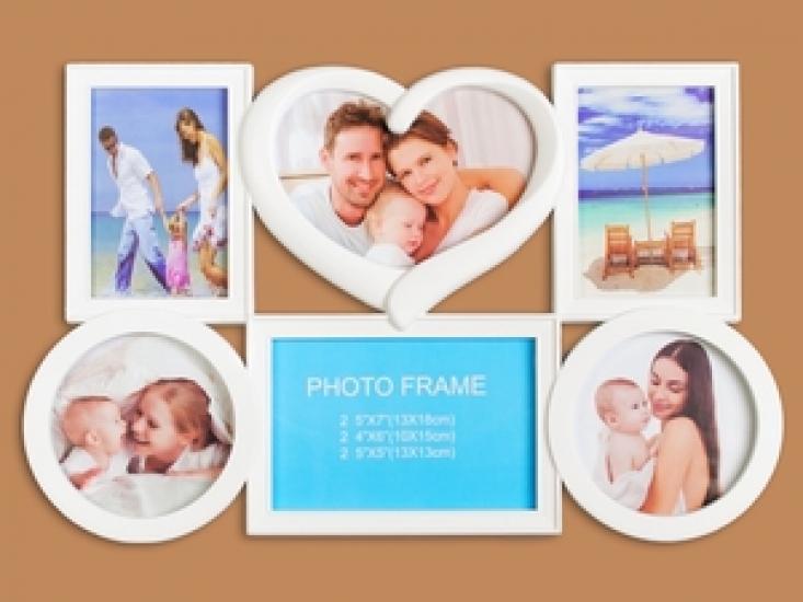Фото - Фоторамка Семейная на 6 фото Белая Сердечко купить в киеве на подарок, цена, отзывы