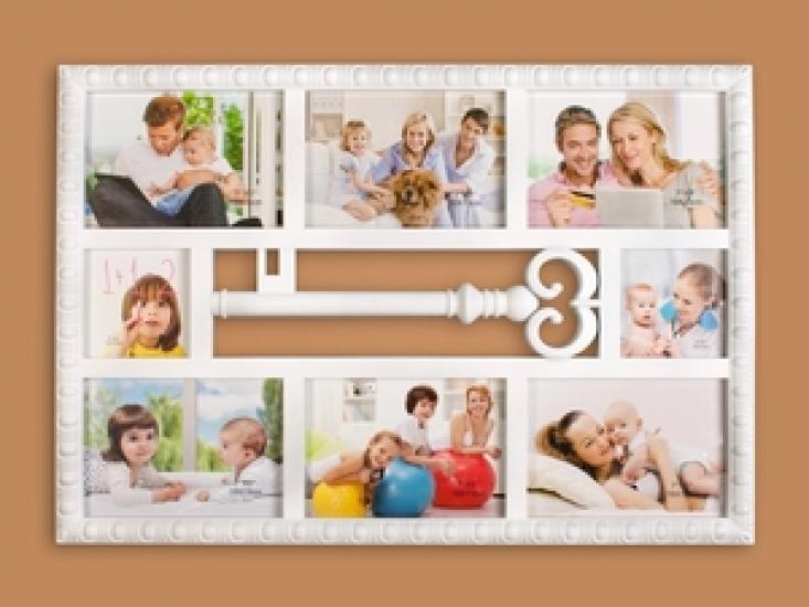 Фото - Фоторамка Семейная на 8 фото белая Ключик купить в киеве на подарок, цена, отзывы