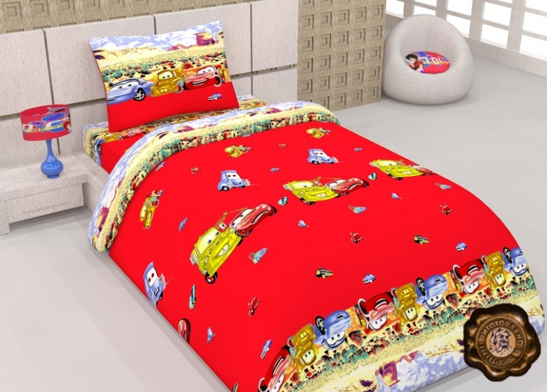Фото - Комплект постельного белья для детей Тачки-друзяшки купить в киеве на подарок, цена, отзывы