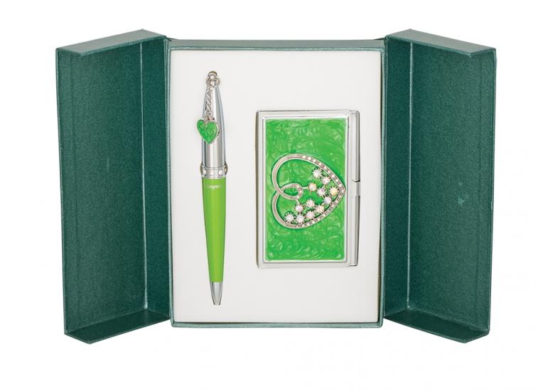 Фото - Подарочный набор ручка и визитница Минта зеленый купить в киеве на подарок, цена, отзывы