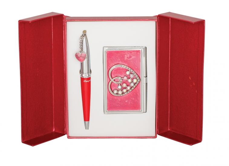 Фото - Подарочный набор ручка и визитница Минта красный купить в киеве на подарок, цена, отзывы