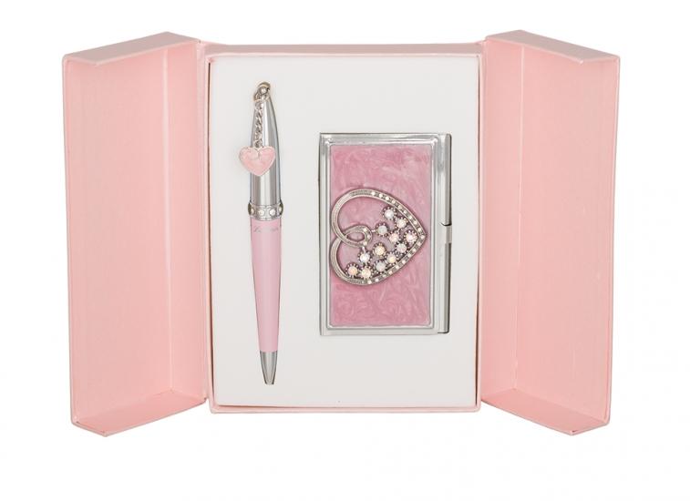 Фото - Подарочный набор ручка и визитница Минта розовый купить в киеве на подарок, цена, отзывы
