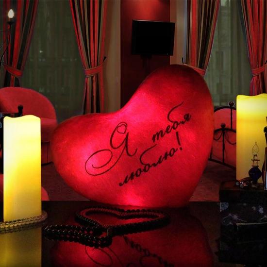 Фото - Светящаяся Подушка Сердце Я тебя люблю купить в киеве на подарок, цена, отзывы