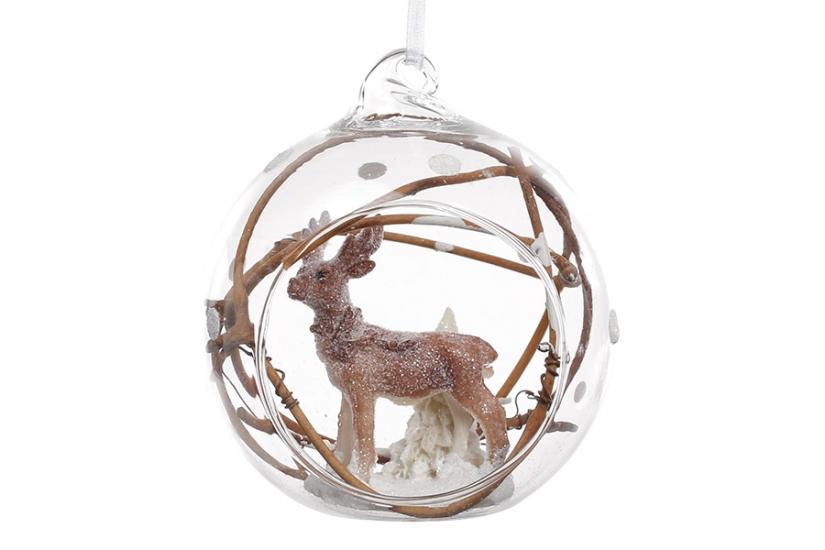 Фото - Елочный шар 8см с фигуркой Олень купить в киеве на подарок, цена, отзывы
