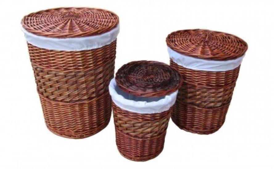 Фото - Корзина бельевая круглая с вкладышем 28х28 см купить в киеве на подарок, цена, отзывы