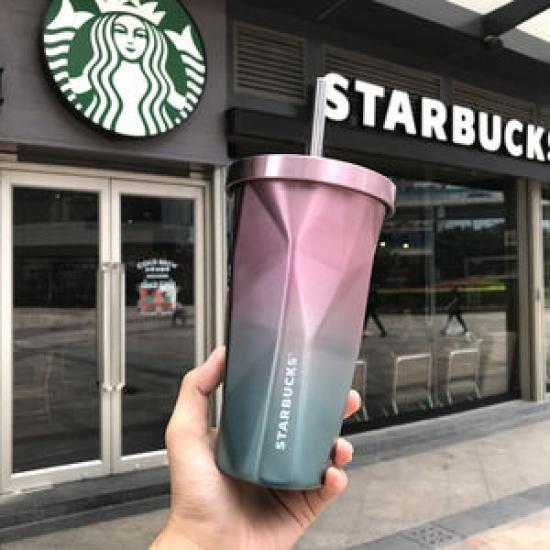Фото - Стакан с крышкой и трубочкой гнутый Starbucks Color купить в киеве на подарок, цена, отзывы