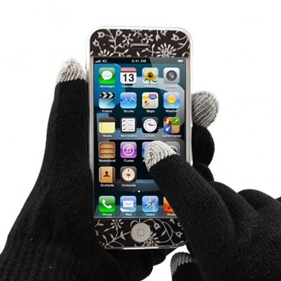 Фото - Перчатки для сенсорных телефонов черные купить в киеве на подарок, цена, отзывы
