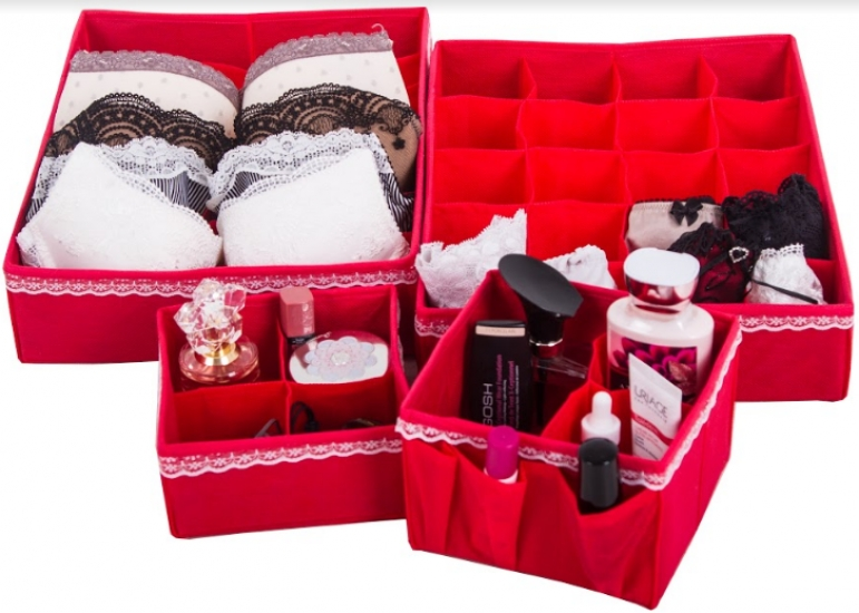 Фото - Комплект Органайзеров для белья и косметики Кармен 4 шт. купить в киеве на подарок, цена, отзывы