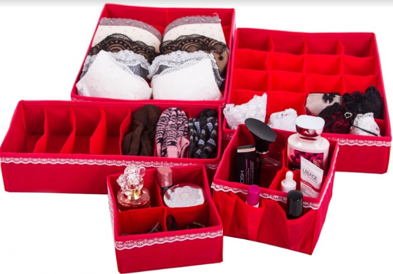 Фото - Комплект Органайзеров для белья и косметики Кармен 5 шт. купить в киеве на подарок, цена, отзывы