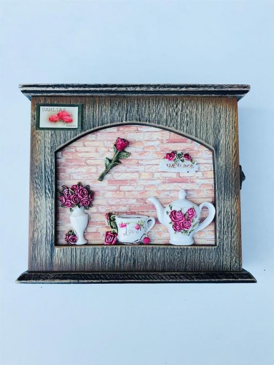 Фото - Ключница настенная чайная Роза купить в киеве на подарок, цена, отзывы