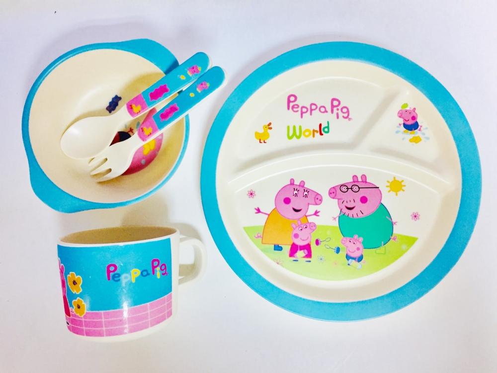 Фото - Набор бамбуковой посуды из 5 предметов Peppa Pig купить в киеве на подарок, цена, отзывы