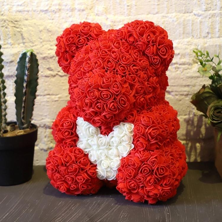 Фото - Мишка из роз Teddy Bear 40 см красный с белым сердцем купить в киеве на подарок, цена, отзывы