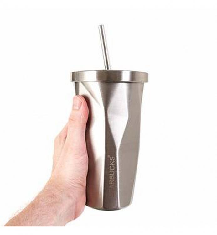 Фото - Стакан с крышкой и трубочкой гнутый Starbucks Silver купить в киеве на подарок, цена, отзывы