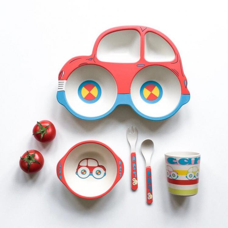 Фото - Детская бамбуковая посуда 5 в 1 Машинка купить в киеве на подарок, цена, отзывы