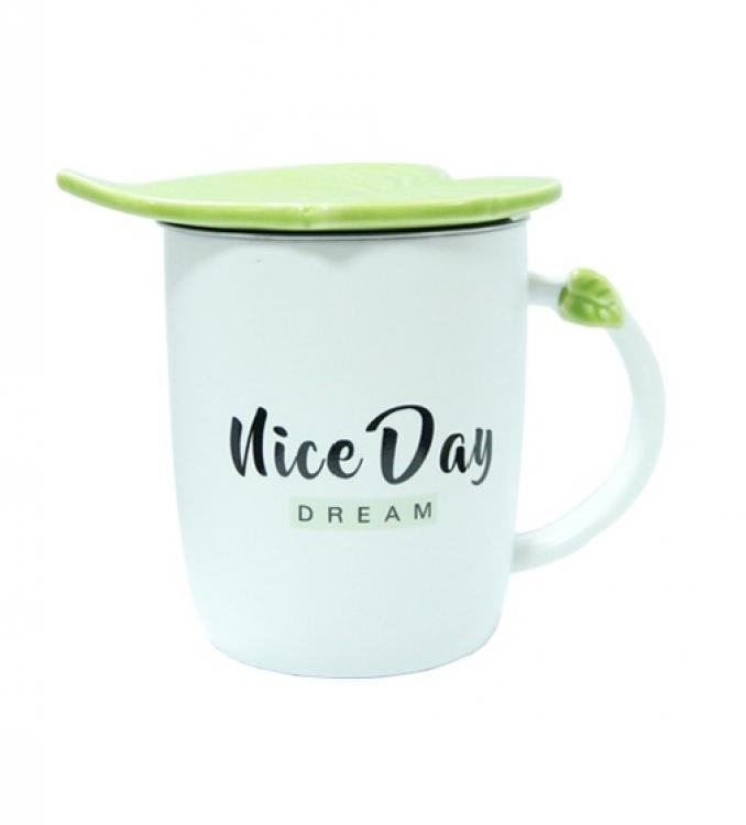 Фото - Чашка керамическая Зеленый Листок Niсe Day Dream купить в киеве на подарок, цена, отзывы